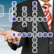 Businessman with wording Solution from working together — 图库照片