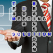 Photo: Businessmwith wording Solution from working together