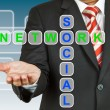 Stock Photo: Businessman hand drawing Social Network
