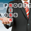 Businessman hand drawing Profit, Risk, and Loss — Stock Photo