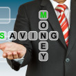 Businessman hand drawing Money Saving — Stock Photo