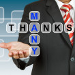 Businessman hand drawing Many Thanks — Stock Photo