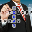 Businessman with wording Today, Yesterday, and Tomorrow — Stock Photo