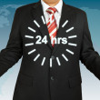 Businessman balance earth and dollar for 24 hours. Elements of t — Stock Photo