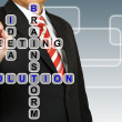 Foto Stock: Businessmwith wording Solution from working together