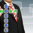 Businessman hand drawing Social Network — Stock Photo #26159463