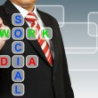 Businessman hand drawing Social Network Media — Stock Photo #26159521