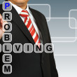 Businessman hand drawing Problem Solving — Stock Photo