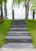 Wood stair way in a garden — Stock Photo