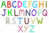 Colorful drawing of English alphabets isolated on white backgrou — Stock Photo