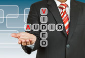 Businessman hand drawing Video and Audio — Stock Photo