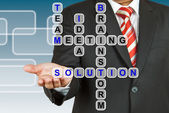 Businessman with wording Solution from working together — Stockfoto