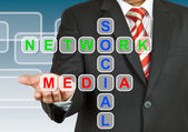 Businessman hand drawing Social Network Media — Stock Photo