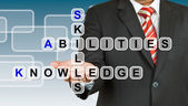 Businessman with wording Skill, Abilities, and Knowledge — 图库照片