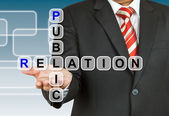 Businessman hand drawing Public Relation — Stock Photo