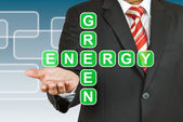 Businessman hand drawing Green Energy — Stock Photo