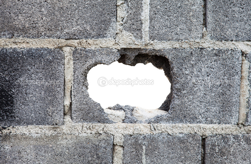 Hole In Concrete Wall : Hole in a concrete wall — stock photo pinkblue