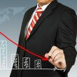 Businessman hand drawing chart red arrow — Stock Photo