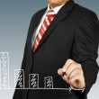 Businessman hand drawing chart red arrow — Stock Photo #26160117