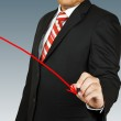 Businessman hand drawing chart red arrow — Stock Photo #26160261