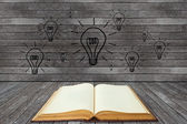 Book and lightbulb in a wood room — Stock Photo