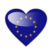 EU flag in heart shape isolated on white background — Stock Photo