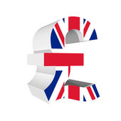 Poind symbol with UK flag 3D isolated on white background — Stock Photo