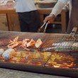 Cooking of bar-b-q seafood — Stock Photo