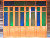 Closed door with colorful glass — ストック写真