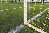 Soccer goal football green grass field — Stock Photo