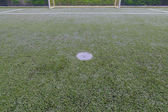 Penalidade no campo de futebol de grama artificial — Foto Stock