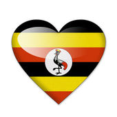 Uganda flag in heart shape isolated on white background — Stock Photo