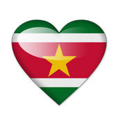 Suriname flag in heart shape isolated on white background — Stock Photo