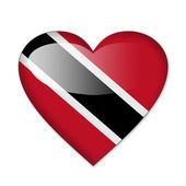 Trinidad and Tobago flag in heart shape isolated on white backgr — Stock Photo