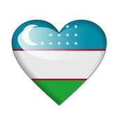 Uzbekistan flag in heart shape isolated on white background — Stock Photo