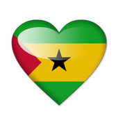Sao Tome and Principe flag in heart shape isolated on white back — Stock Photo