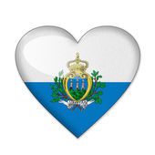 San Marino flag in heart shape isolated on white background — Stock Photo
