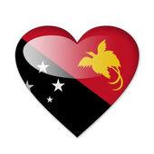 ハートの形の白い背景で隔離のパプア ニューギニアの旗 — ストック写真