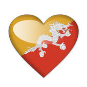 Bhutan flag in heart shape isolated on white background — Stock Photo