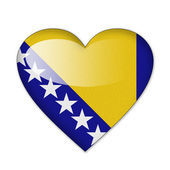 Bosnia and Herzegovina flag in heart shape isolated on white bac — Stock Photo