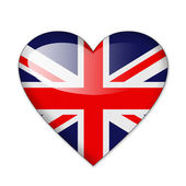 Heart flag Britain in white background — Stock Photo