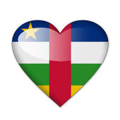 Central African Republic flag in heart shape isolated on white — Stock Photo