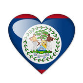 Belize flag in heart shape isolated on white background — Stock Photo