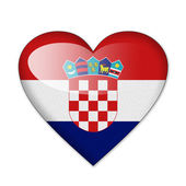 Croatia flag in heart shape isolated on white background — Stock Photo