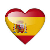 Spain flag in heart shape isolated on white background — Stock Photo