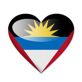 Antigua and Barbuda flag in heart shape isolated on white backgr — Stock Photo