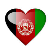 Afghanistan flag in heart shape isolated on white background — Stock Photo