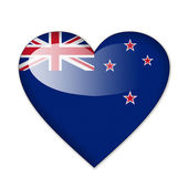 New Zealand flag in heart shape isolated on white background — Stock Photo