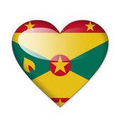 Grenada flag in heart shape isolated on white background — Stock Photo