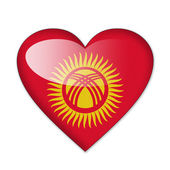 Kyrgyzstan flag in heart shape isolated on white background — Stock Photo